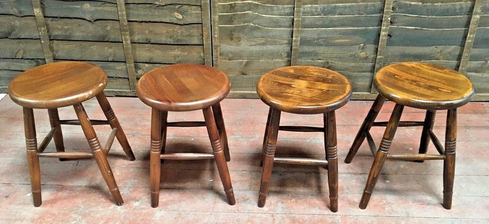 Tremendous Set Of X 4 Solid Wooden Short Bar Stools Round Seat Pub Short Links Chair Design For Home Short Linksinfo