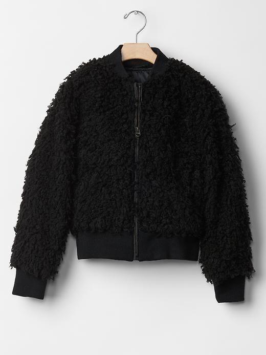 Girl GAP Sherpa Bomber Jacket Zip Pockets Lined Faux Fur Black 8 ...