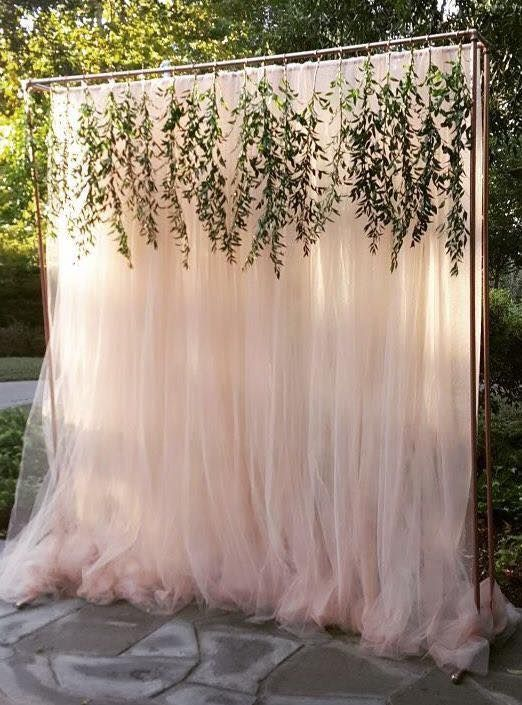 Tulle Backdrop A Not Fan Of The Greenery B Could Weight Excess Fabric Behind In Case Wind