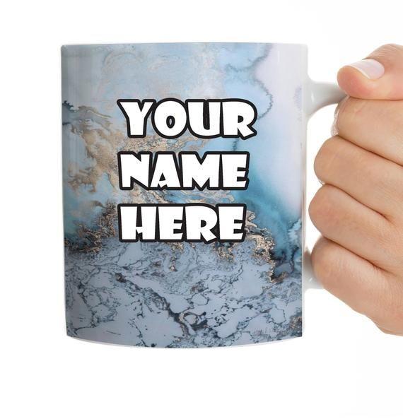 Custom Mug Name Mug Gift Marble Mug Coffee Mug Blue and Gold Marble Personalized Text Any Text You W #custommugs