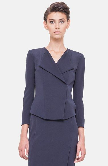 Akris Asymmetrical Front Stretch Silk Jacket available at #Nordstrom