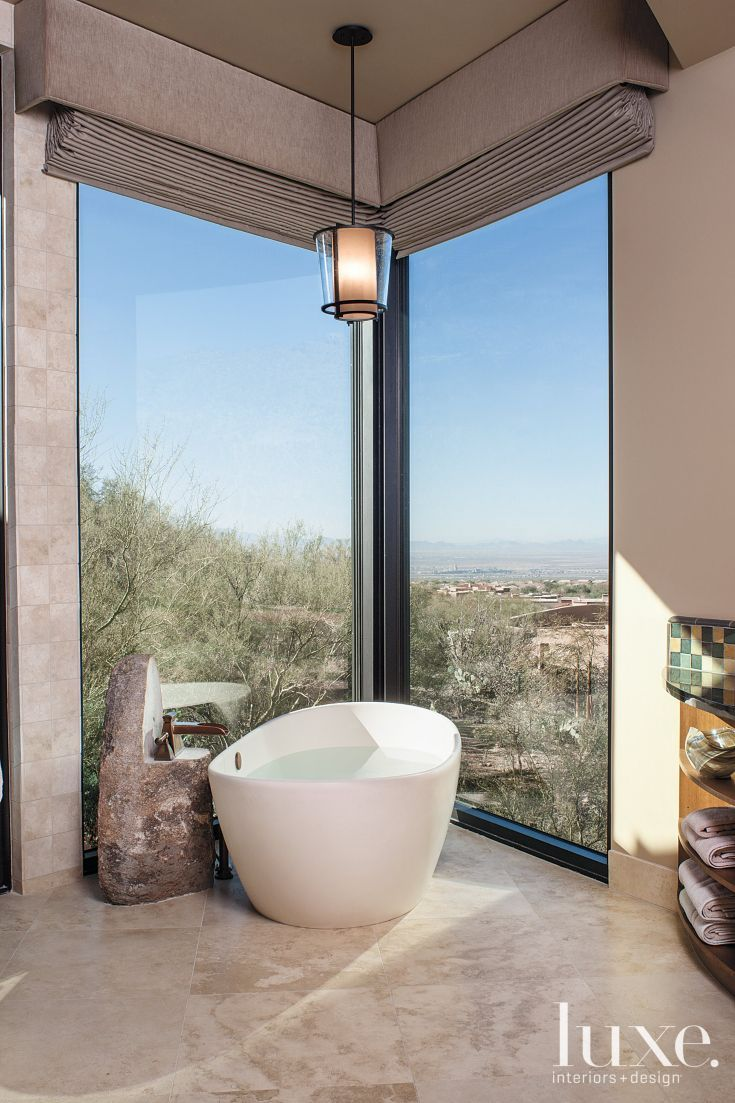 7: A White Contemporary Bathroom in Marana, AZ Breathtaking vistas ...