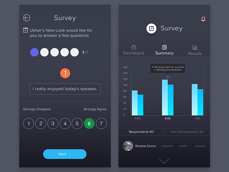Survey Summary Survey design, Mobile design, App design