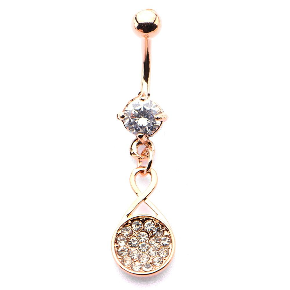 Belly button piercing without jewelry  Rose Gold Circle Cluster Dangle Belly Button Ring  Rose Gold Dangle