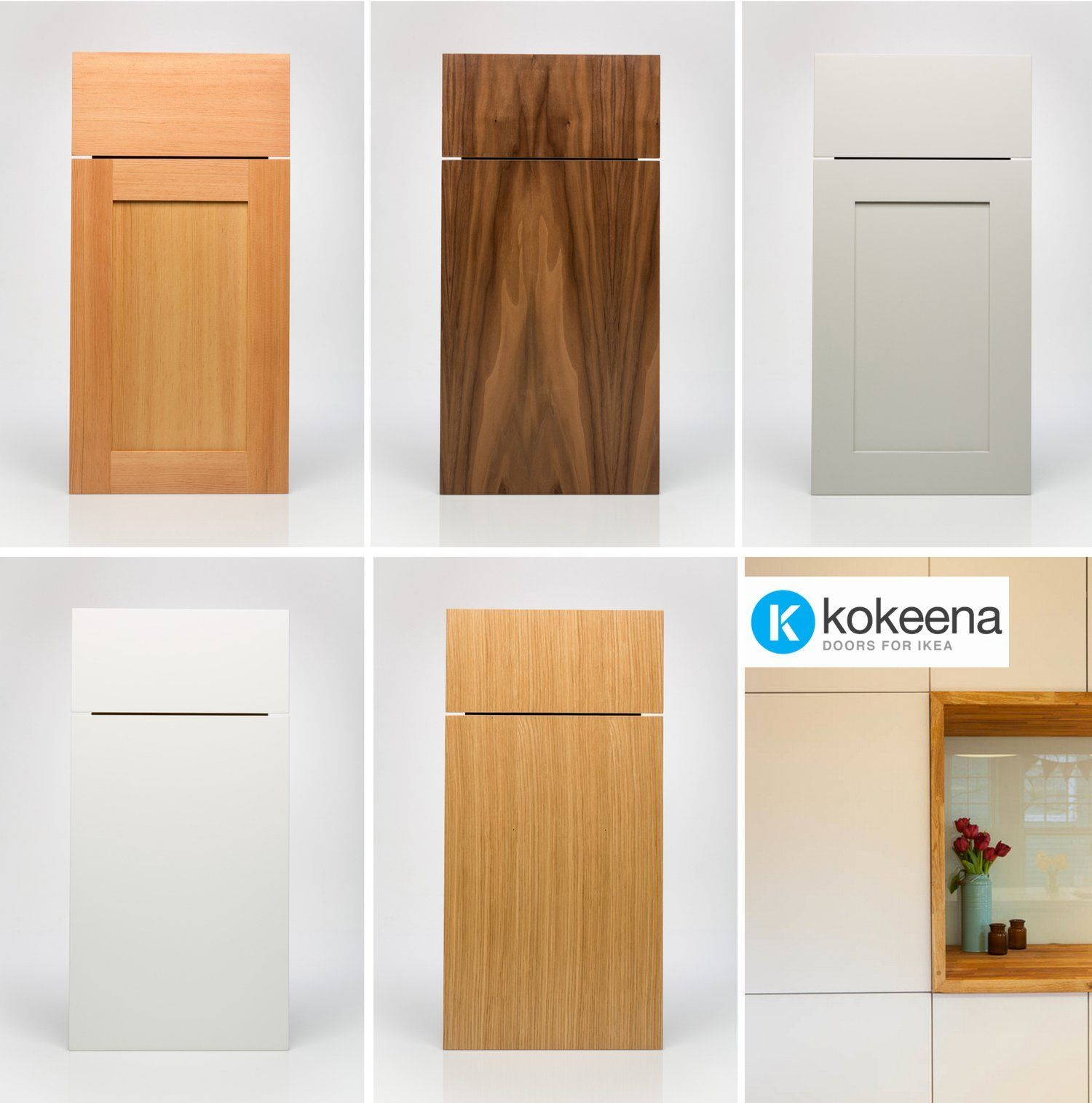 Kokeena Real Wood Ready Made Cabinet Doors for IKEA AKURUM Kitchens