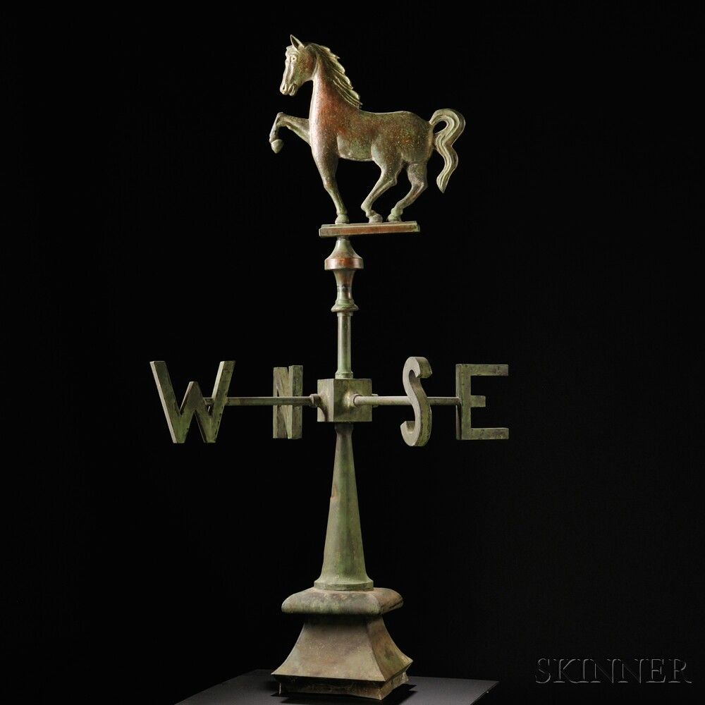 Molded Copper Prancing Horse Weathervane With Directionals And Roof Mount Whirligig Horses Weathervanes