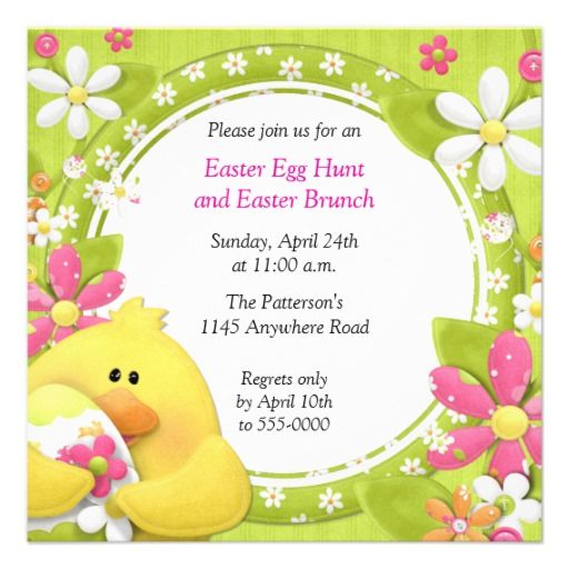 chick and egg easter brunch and egg hunt custom invite 2 30