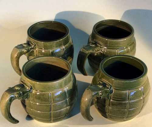 Custom order grenade mugs. Not the sort of thing I usually make but it looked like an interesting little challenge. :-) earthwoolfire@gmail.com