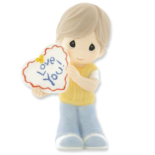 Precious Moments Boy Holding Love You Sign Figurine