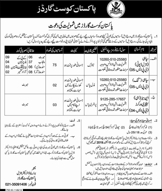 Pakistan Coast Guards Jobs 2019 Latest Career Advertisemen