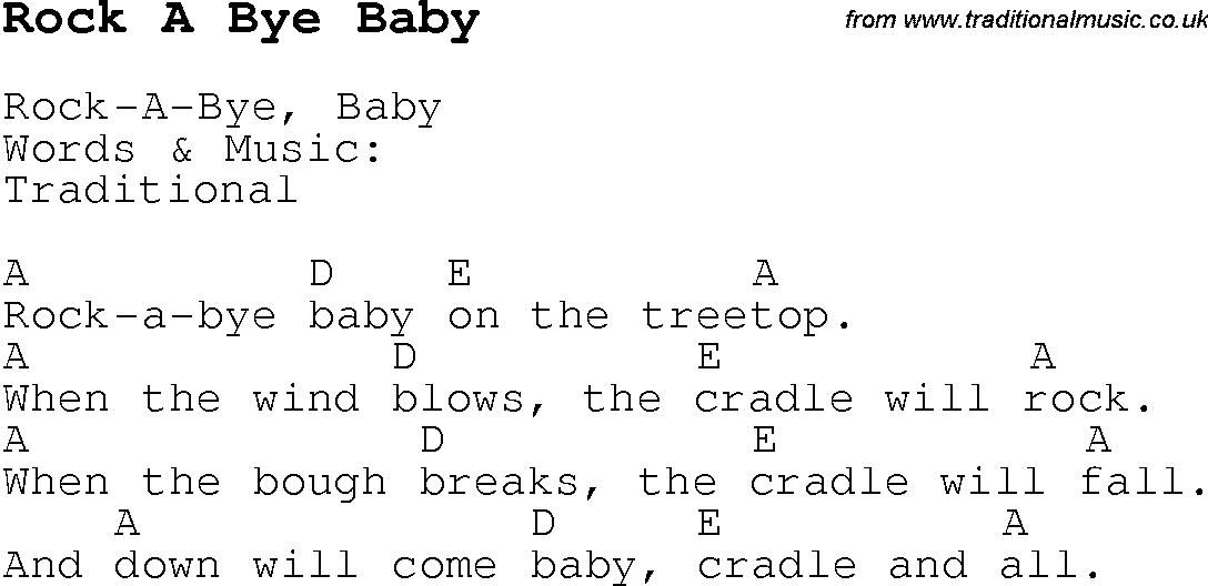 Rock A Bye Baby Lyrics Lyrics With Chords For Guitar Banjo