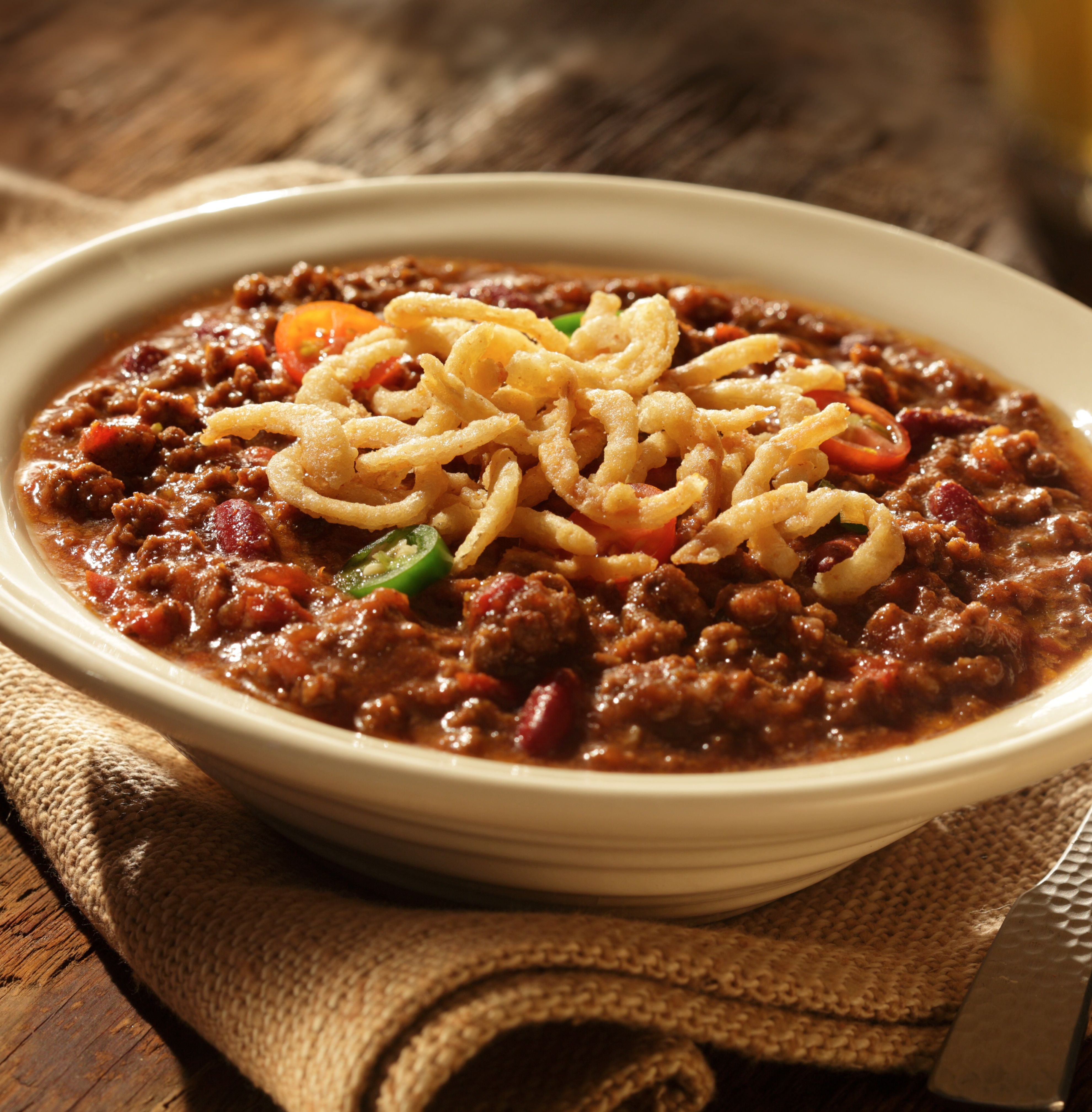 Crunchy Onion Chili Recipe Slow Cooker Chili Recipes Fried Onions
