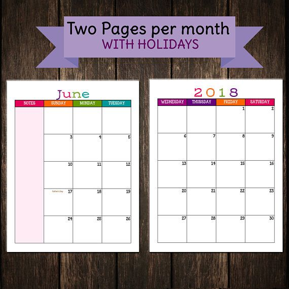 2018 Two Page Monthly Caribbean Calendar PRINTABLE / Mambi ...
