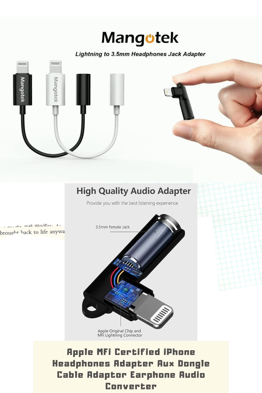 Apple Mfi Certified Iphone Headphones Adapter Aux Dongle Cable Adaptor Earphone Audio Converter Video Headphones Iphone Iphone Cable