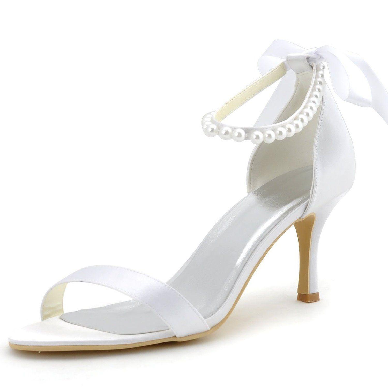 L TC Chaussures pour Femmes Soie Talon Plat Bout Rond Chaussures Plates Mariagechampagne/Argent/Mauve/Bleu/Rouge/Rose/Blanc, Blue, 42