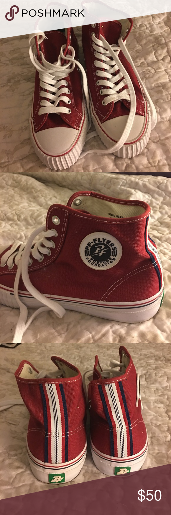NWOT Red PF Flyers Hi Tops Size 9.5 NWOT. Been In Storage for years. PF Flyers...you know like what Benny wears in The Sandlot. Size 9.5 PF Flyers Shoes Sneakers