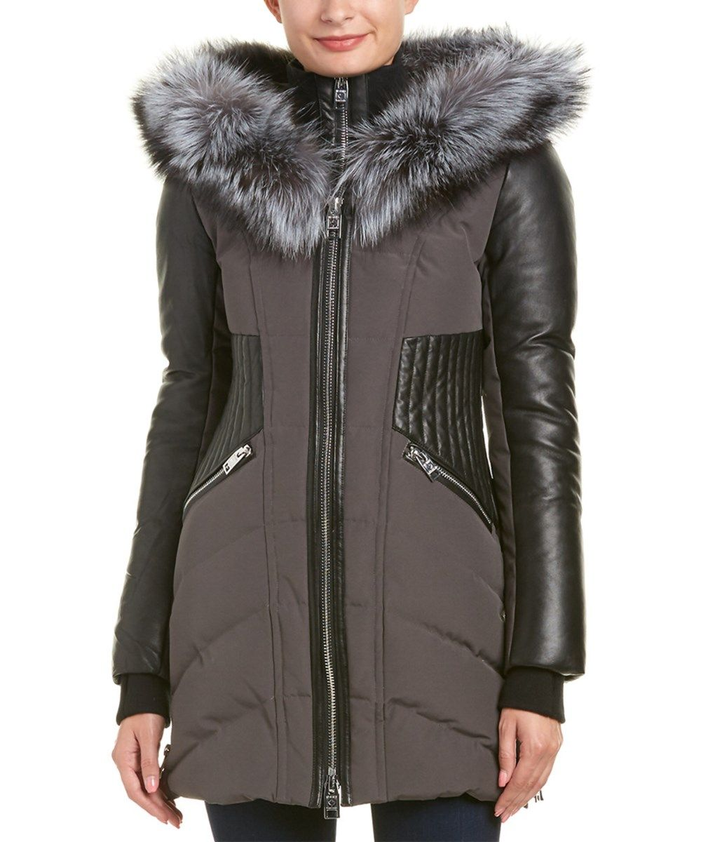 Nicole Benisti Leather Trim Down Coat In Grey Silver Modesens [ 1200 x 1000 Pixel ]