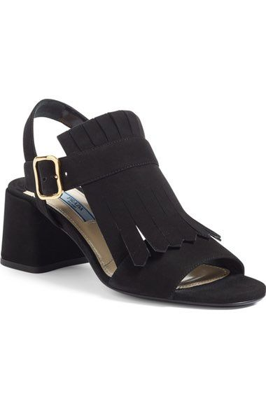 block-heel leather sandals - Black Prada eBBH5qb9
