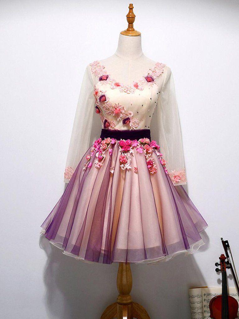 Floral homecoming dress vneck aline beautiful short prom dress