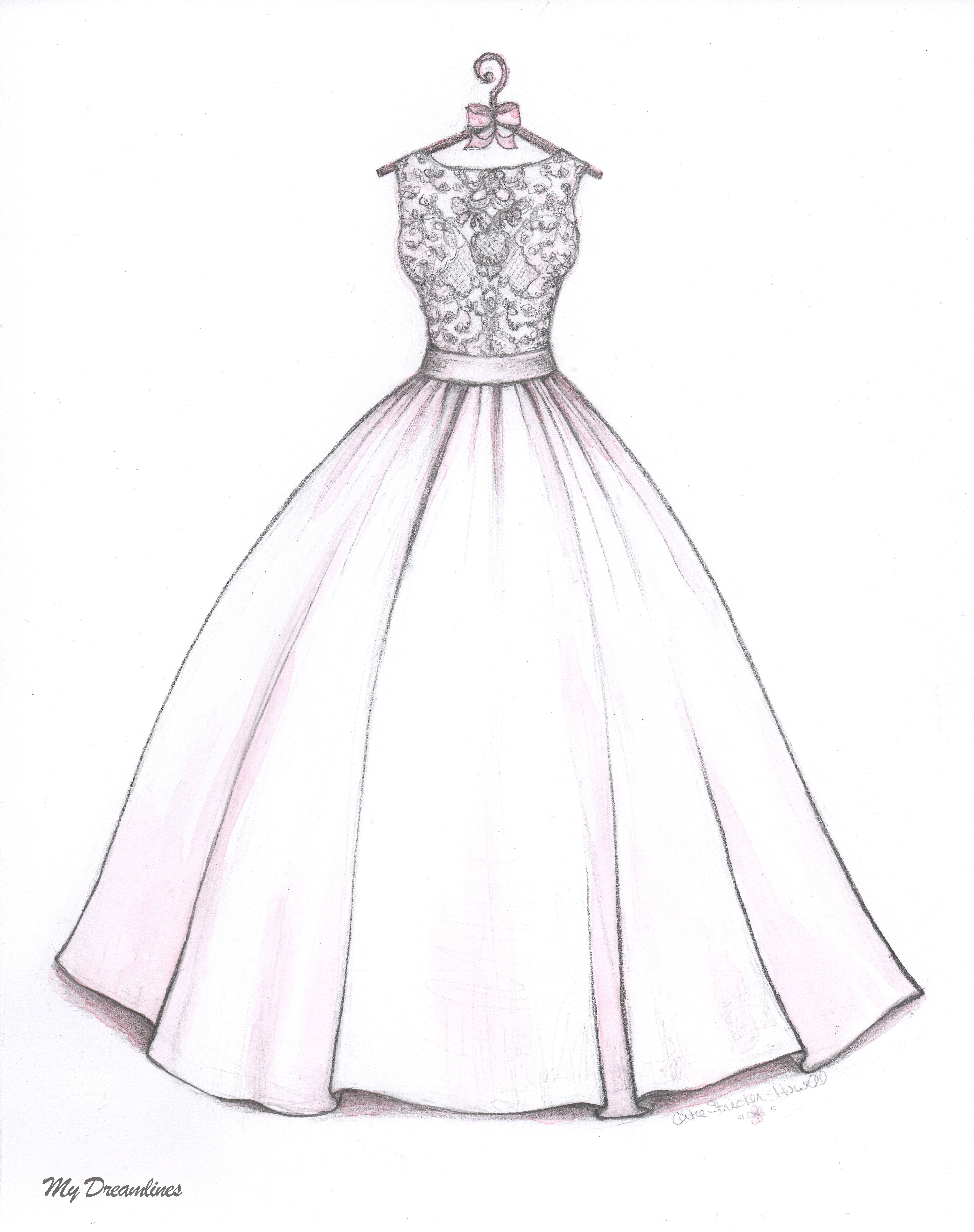 Satin Ballgown skirt with lace bodice wedding dress sketch by Catie ...