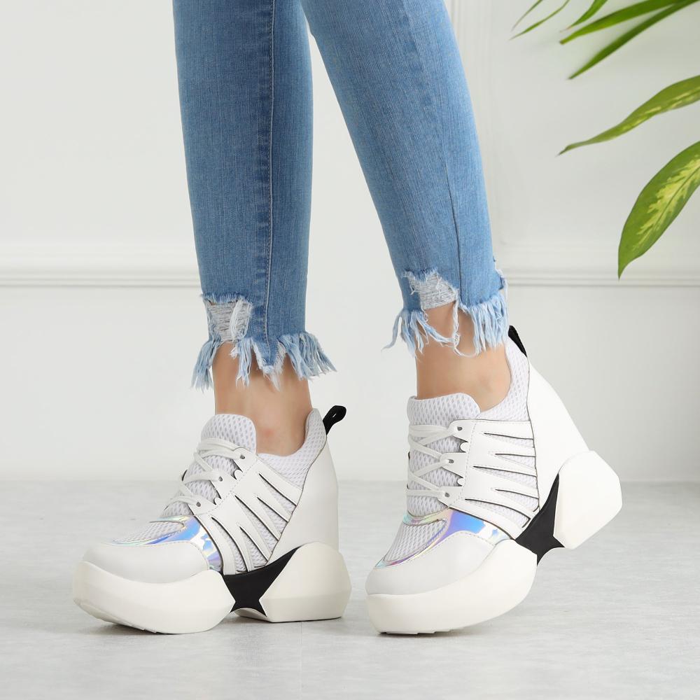 Olpat Beyaz Fileli Kalin Tabanli Spor Ayakkabi Bayan Ayakkabi Ayakkabilar Spor