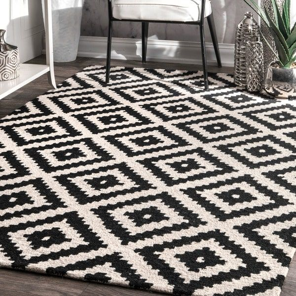 Nuloom Handmade Abstract Wool Fancy Pixel Trellis Rug X Black Size