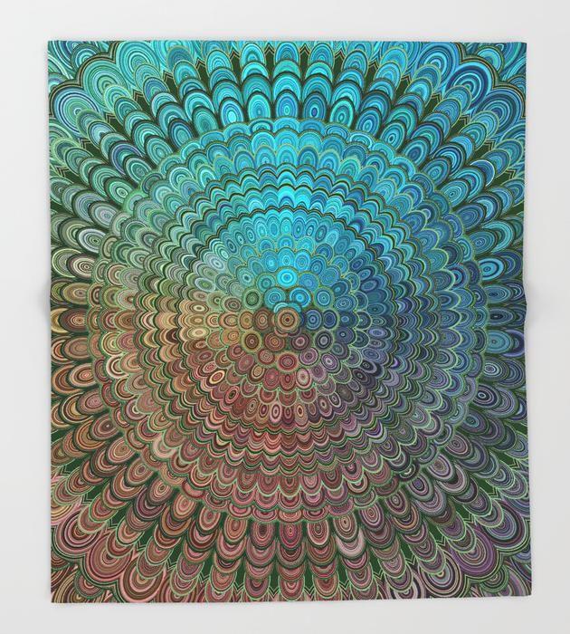 Cold Metal Flower Mandala Throw Blanket