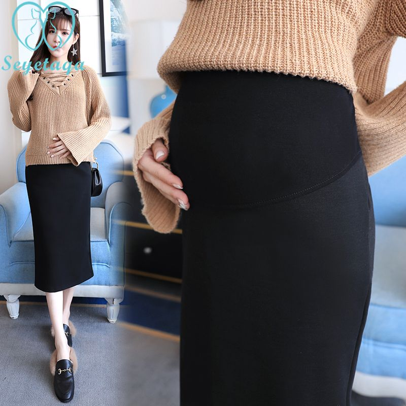 aafbb2b917ee2 225# 2018 Autumn Korean Fashion Maternity Skirts Elastic Waist Belly Long  Skirts Side Split Skirts for Pregnant Women Pregnancy-in Skirts from Mother  & Kids ...