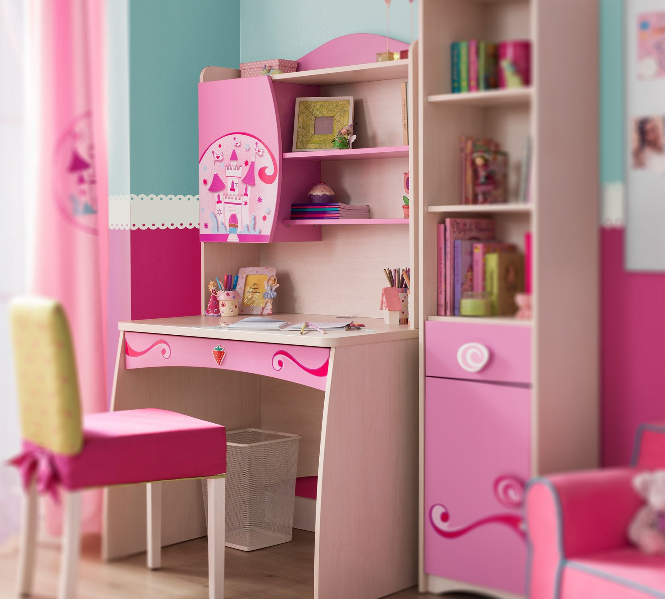 Kids Room Study Table: Princess Study Table And Bookcase