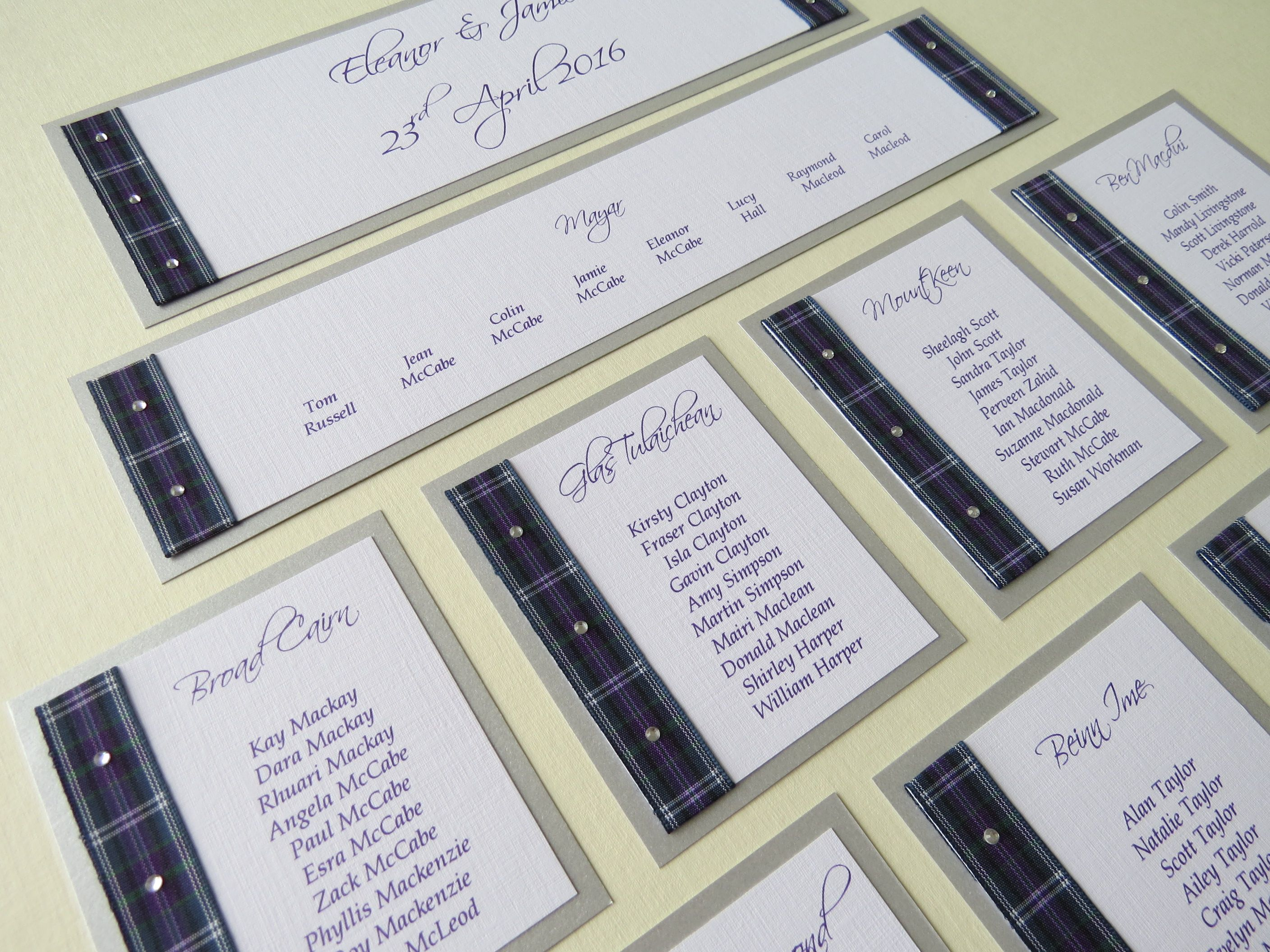 Bannockburn Tartan Diamante Table Plan Kit