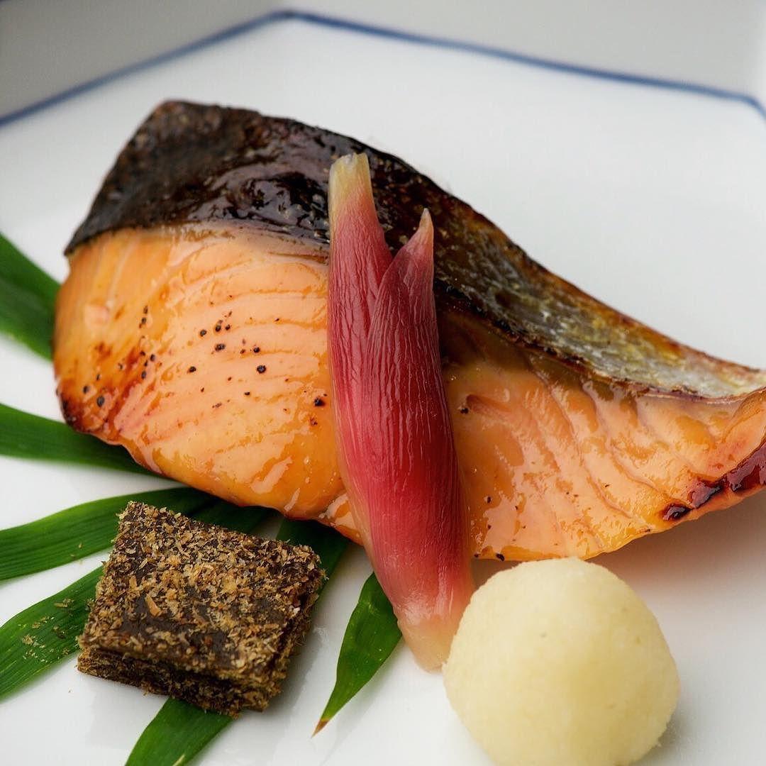 Salmon grill Flavored Saikyo-Miso  Salmon is pickled with Kyoto-Miso for 2 days. Then grill as inside soft.  サーモン西京焼き 西京味噌に2日間漬け込みふっくらと焼き上げます  #kaiseki #cuisine #kitaohji #salmon #saikyomiso #サーモン #西京焼き #japanesefood #japanesecuisine #instafood #foodpic #yum #yummy #thonglor #sukhumvit #bangkok #อาหารญ #dinner #authenticjapanesecuisine by takashi.kitahara