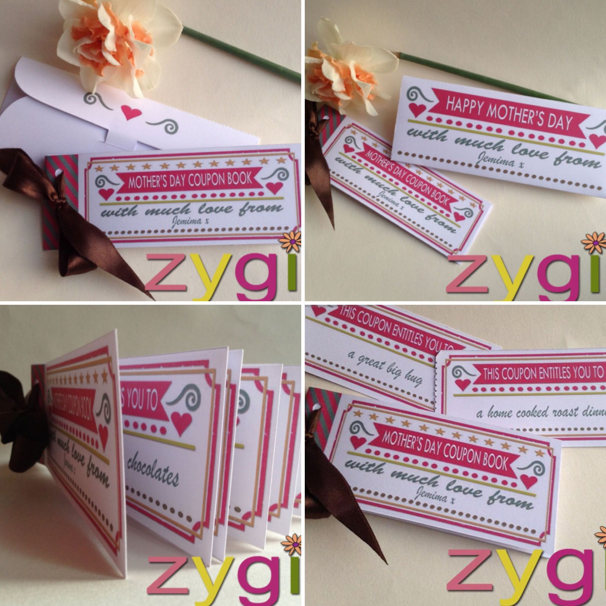 voucher book printable and editable  mother's day coupons