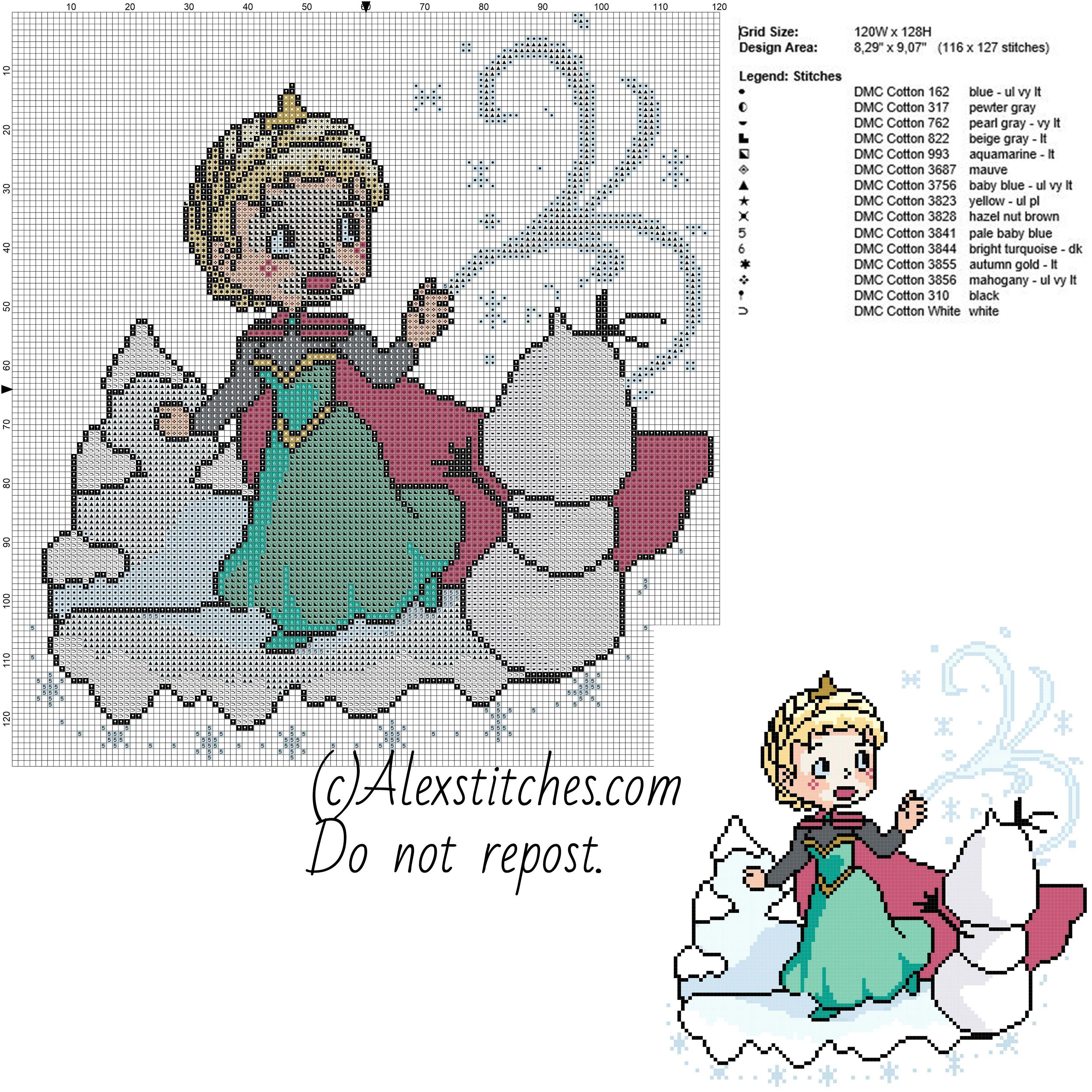 Chibi Elsa with snow disney princess free cross stitch pattern