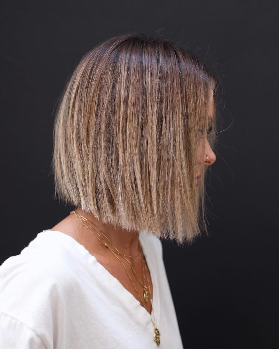 Soft Blunt Bob Anhcotran Haircolorbalayage Bluntbob In 2020 Bob Haircut For Fine Hair Bob Hairstyles For Fine Hair Thick Hair Styles