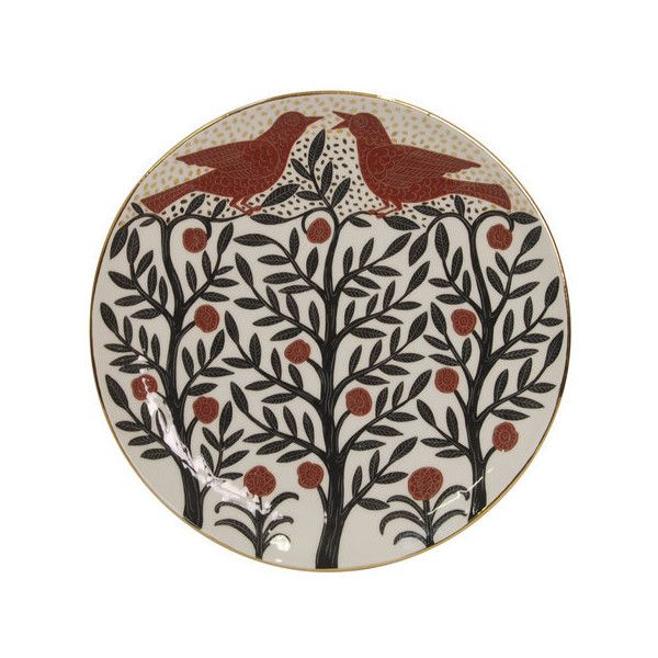 Graziano Pericoli Forest with Red Birds Plate With Gold (320 CAD) ❤ liked on Polyvore featuring black