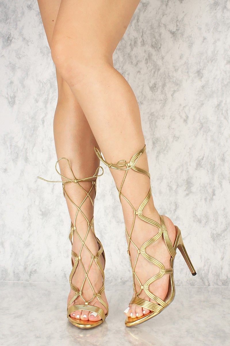 5322e12d50f Buy Gold Strappy Cut Out Lace Up Peeped Toe Single Sole High Heels ...