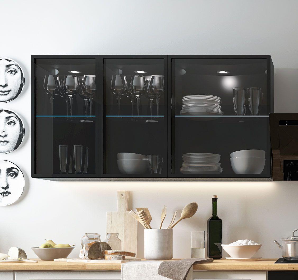 Küchenschrank Hängeschrank schwarz / Aluminium Breite wählbar (W10S