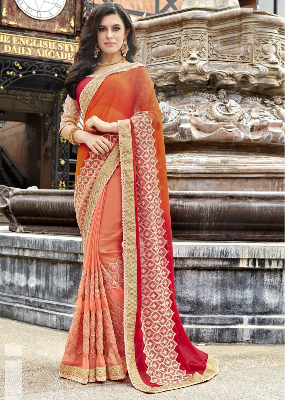 1a1cb80920 Buy Orange Color Faux Georgette Wedding Wear Sarees Online at Low prices in  India on Winsant FREE SHIPPING #saree #designersaree #chiffon  #onlineshopping ...