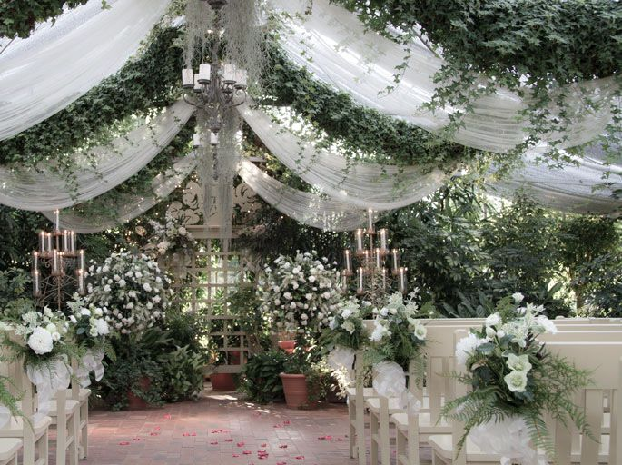 Bench Bouquets & Topiary - The Conservatory Garden Wedding Venue, St. Louis, MO #conservatorygarden