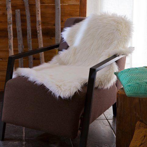 Jete En Fausse Fourrure Imitation Peau De Mouton Blanc Casse Vue 2 Peau De Mouton Jete De Canape Linge De Maison