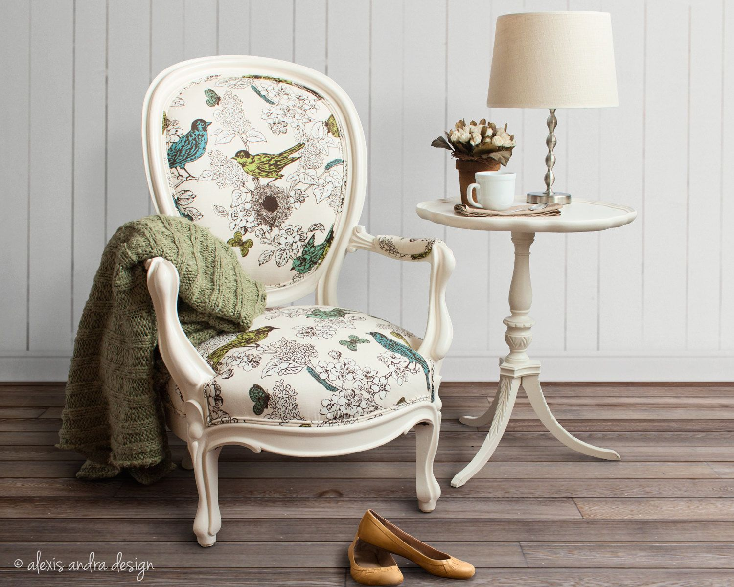 Antique Victorian Round Back Chair - classic unexpected cream vintage blue green teal white brown whimsical romantic french country armchair. $695,00, via Etsy.