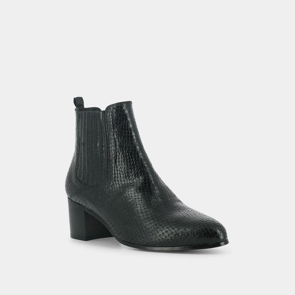 Boots pointues à talon Femme en reptile gris   Jonak
