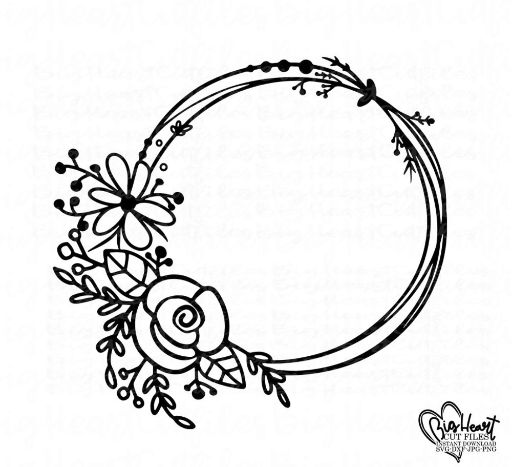 Flower Wreath Monogram Frame Dxf Jpg Png Floral Wreath Svg Silhouette Cut File Floral Circle Monogram Frame Svg Cricut Cut File