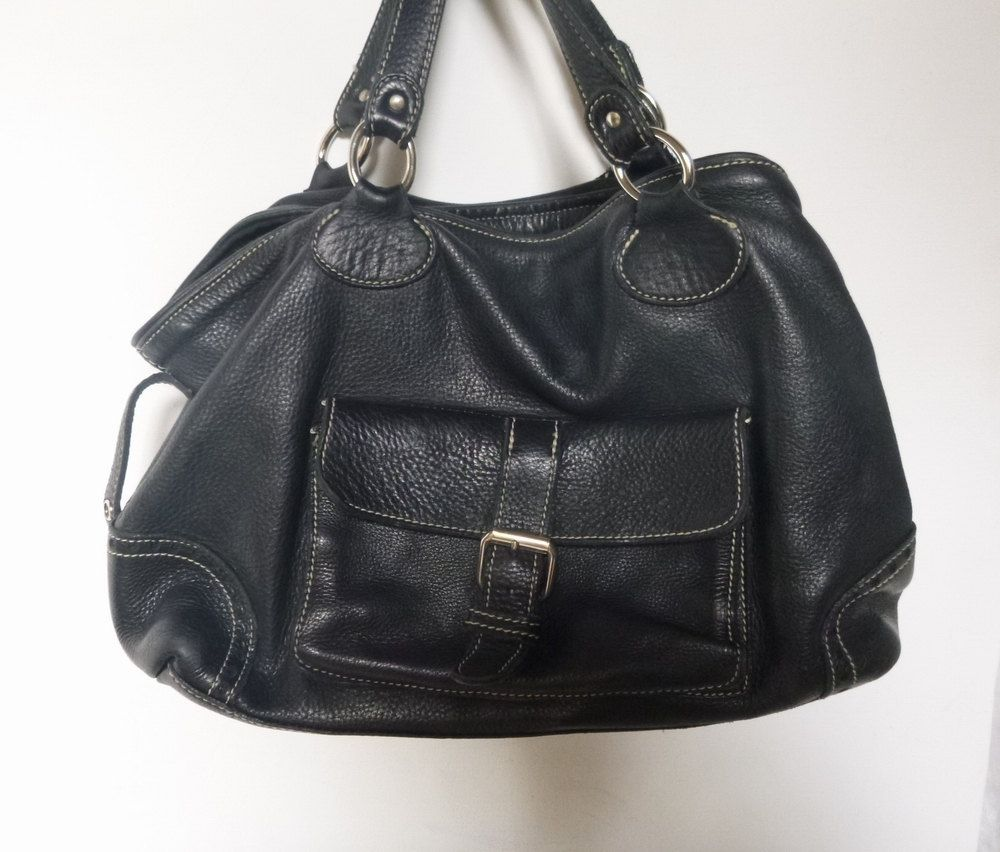 Vintage Roots Purse ~ Large Satchel Shoulder Bag ~ Charcoal Grey ~ Pebble…