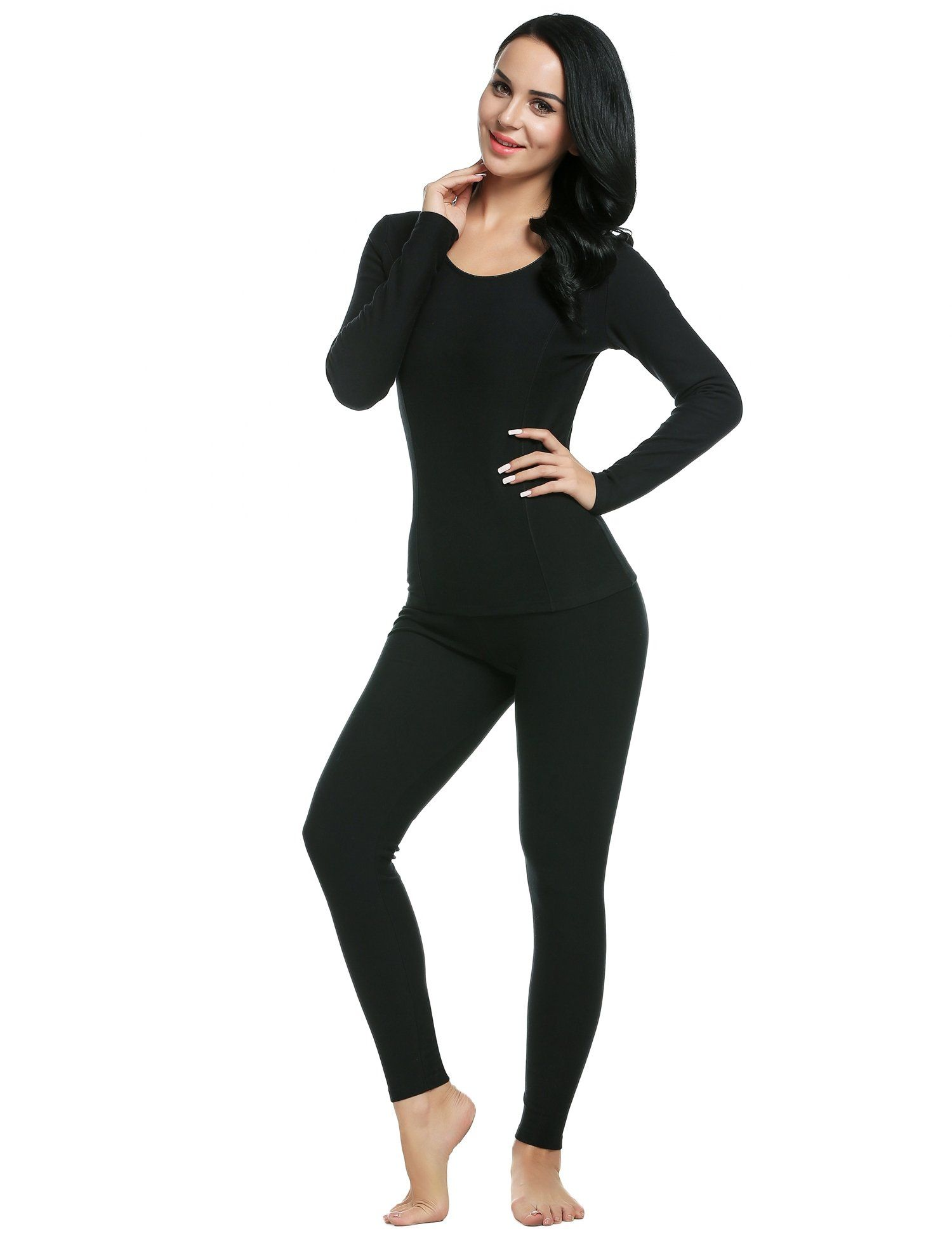 7cb29982dae08c Ekouaer Women's Thermal Wear Winter Long Johns Pajama Set Sleepwear Plus  Size(Black,Large