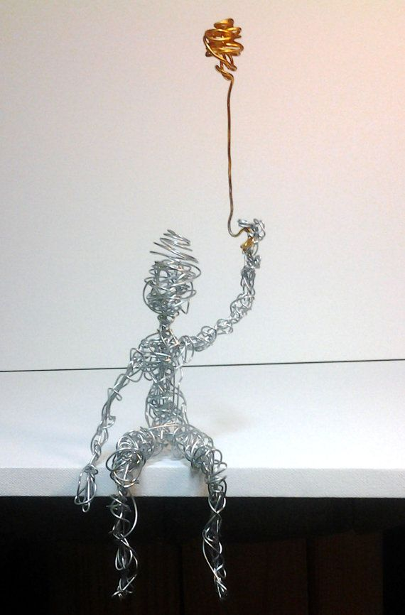Wire sculpture boy with balloon miniature metal statue alumimum wire ...