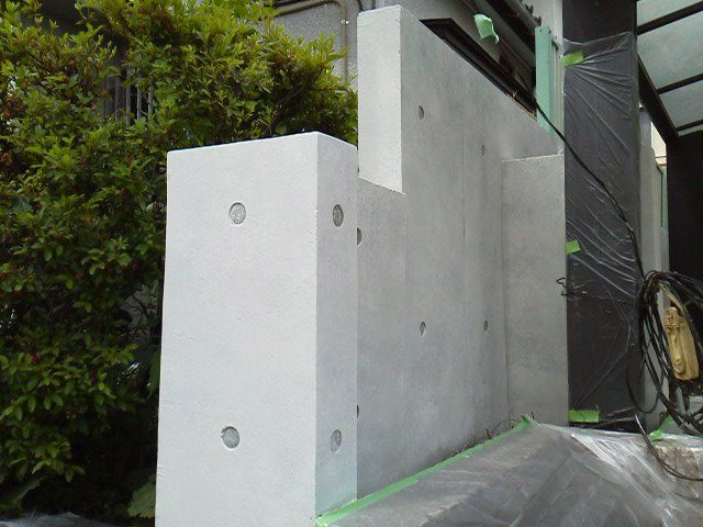 ブロック塀からコンクリート打放し風へ塗り替えました 外壁外兵衛