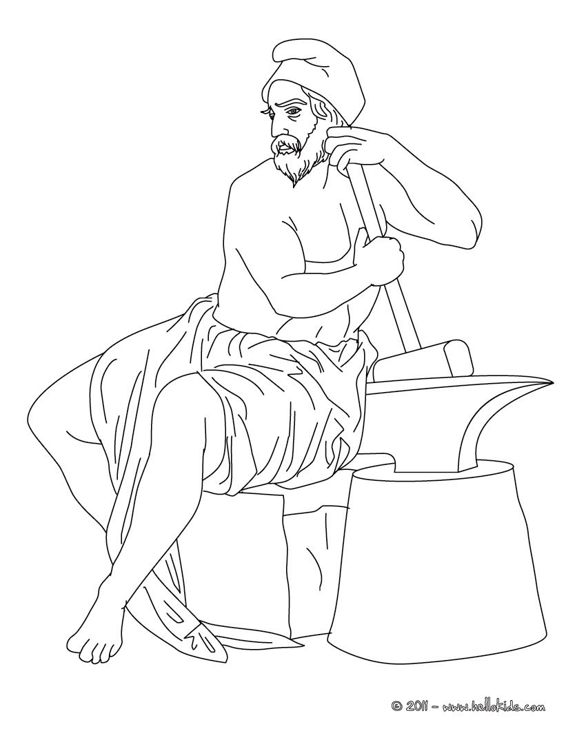 Hephaestus Greek Goddess & Gods Coloring Page | Coloring Pages of ...