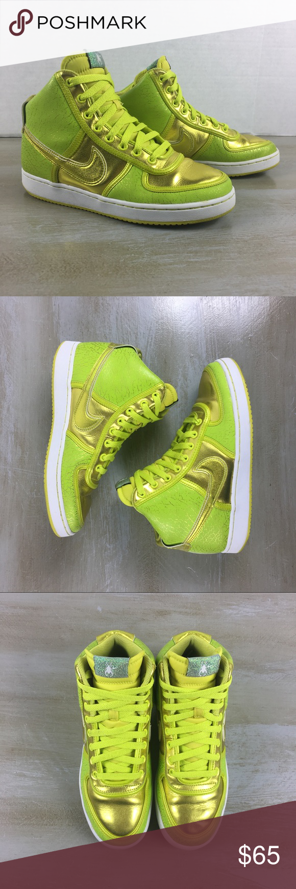 Nike Women s Vandal High Tops Electrolime Sz 8 S4 Neon high tops Scarab  beetle on tongue Good Condition with slight discolor Swoosh bit not  noticeable. 87230938c2
