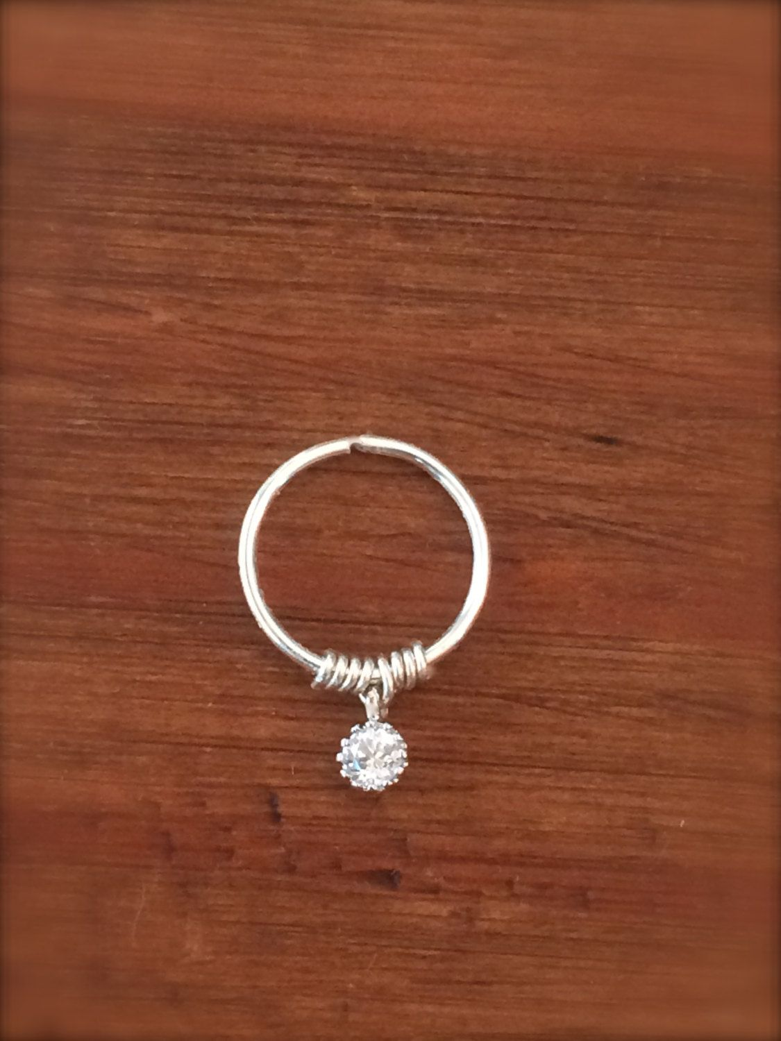 Tiny Gold Silver Cartilage Earring Septum Ring Diamond Crystal ...